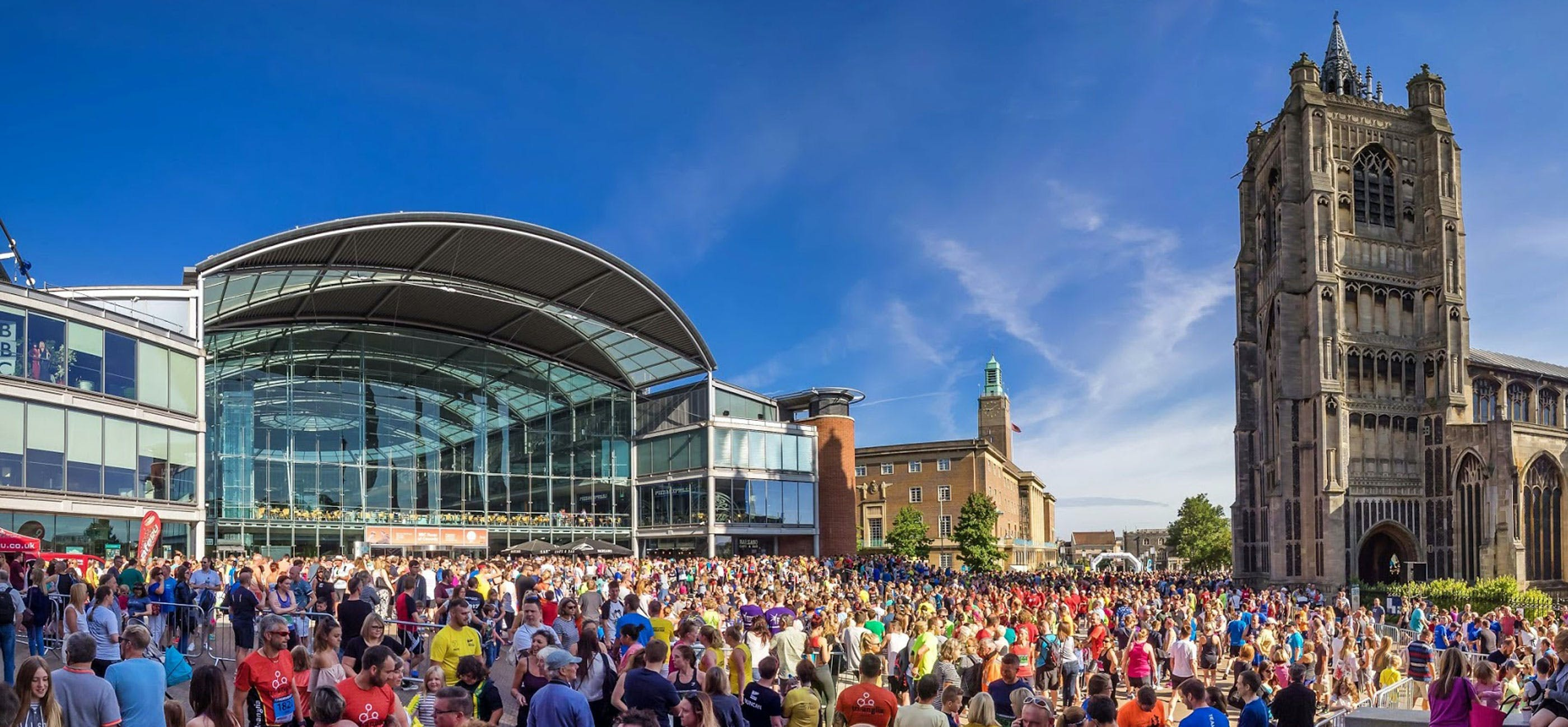 Crowds gathered outside The Forum for Run Norwich