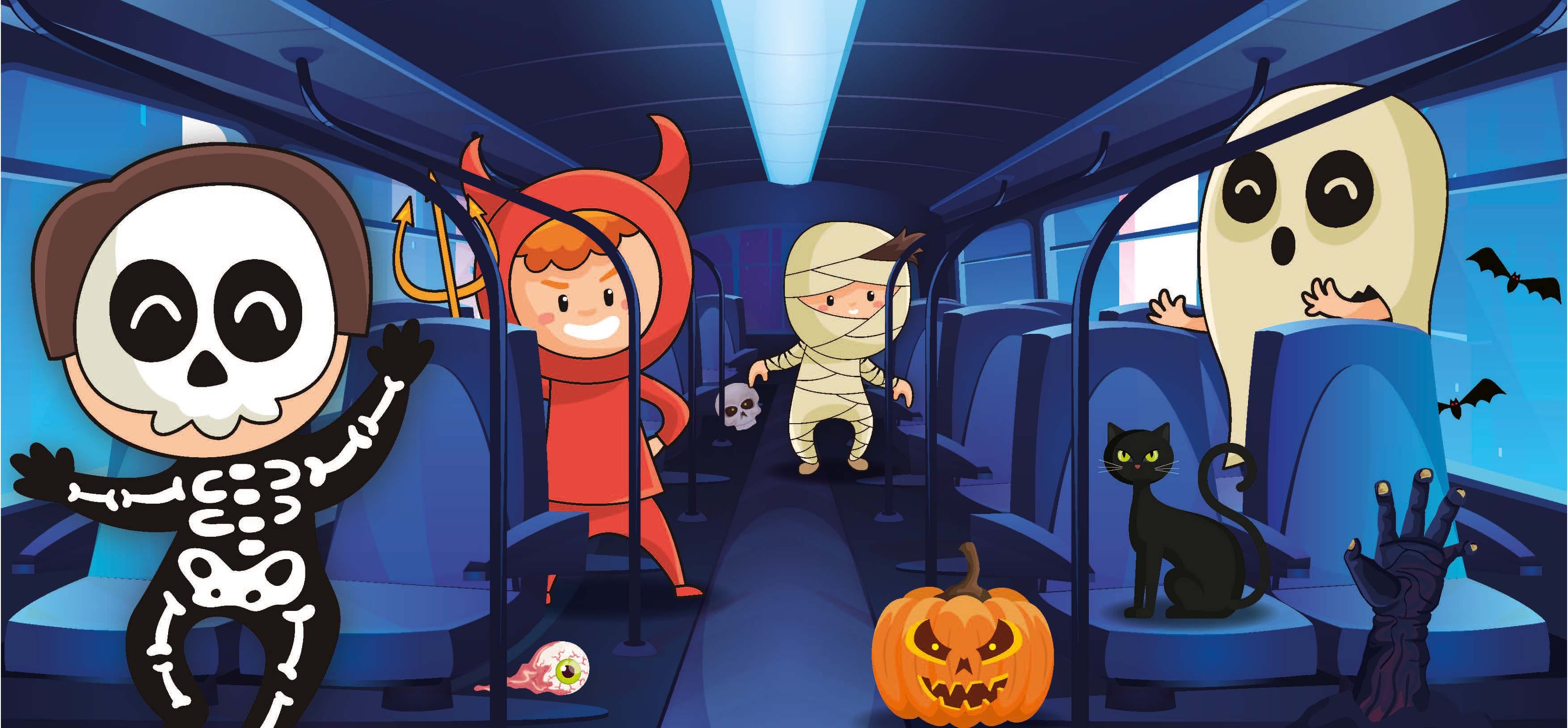 A cartoon of the inside of a Halloween bus with children dressed up as a skeleton, devil, mummy and ghost