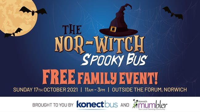 A cartoon with witches hat and bats and the logos for Konectbus and Norwich Mumbler