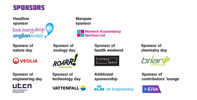 Norwich Science Festival 2019 sponsors