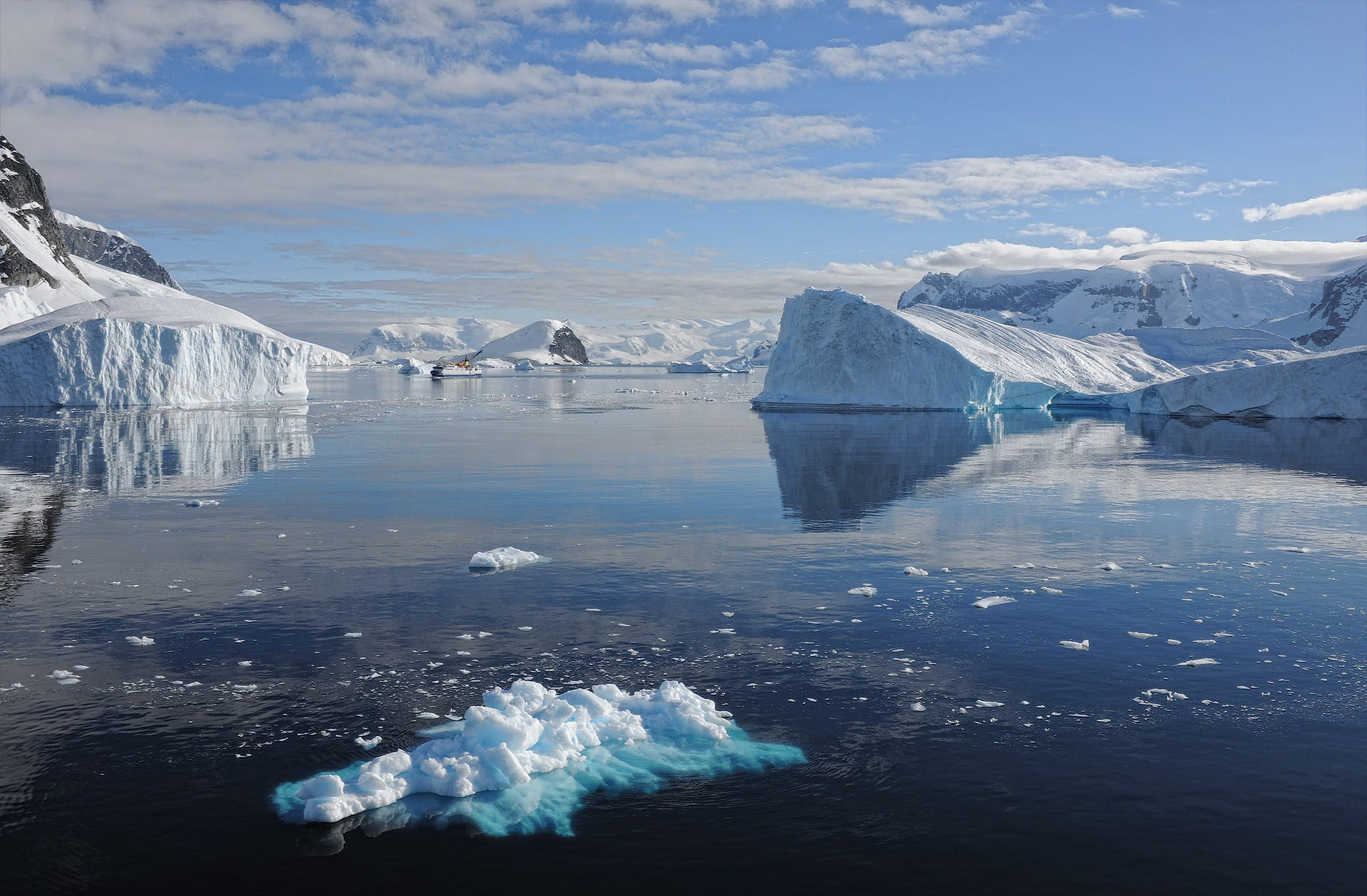 Antarctic landscape of icebergs and water
