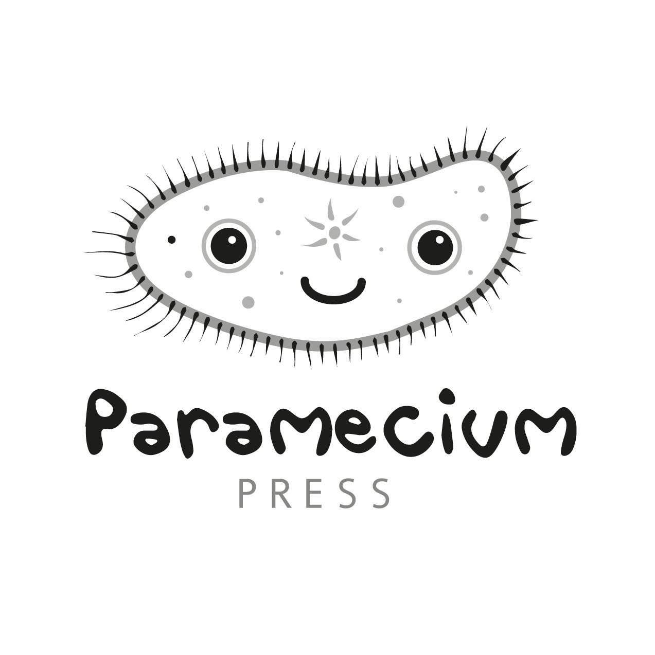 An illustration logo of a cute smiling microbe