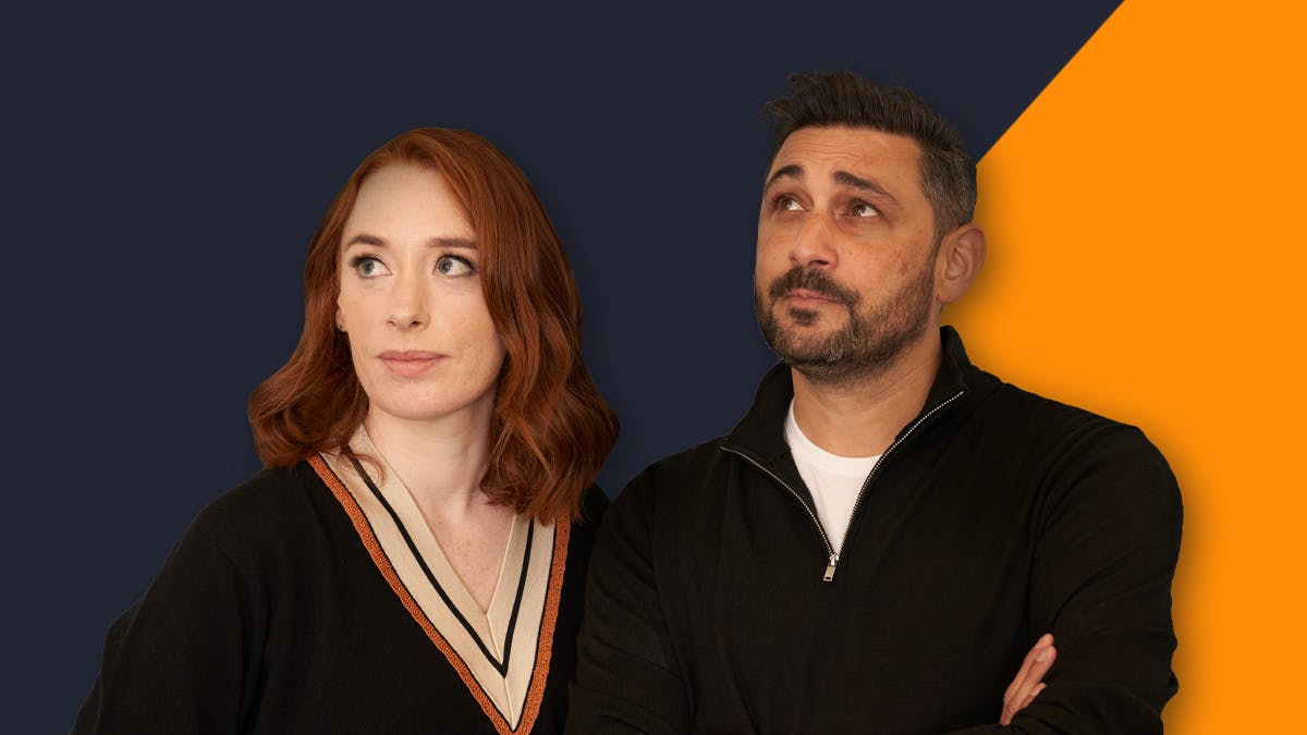 Image of Hannah Fry and Adam Rutherford curiously gazing off to the left