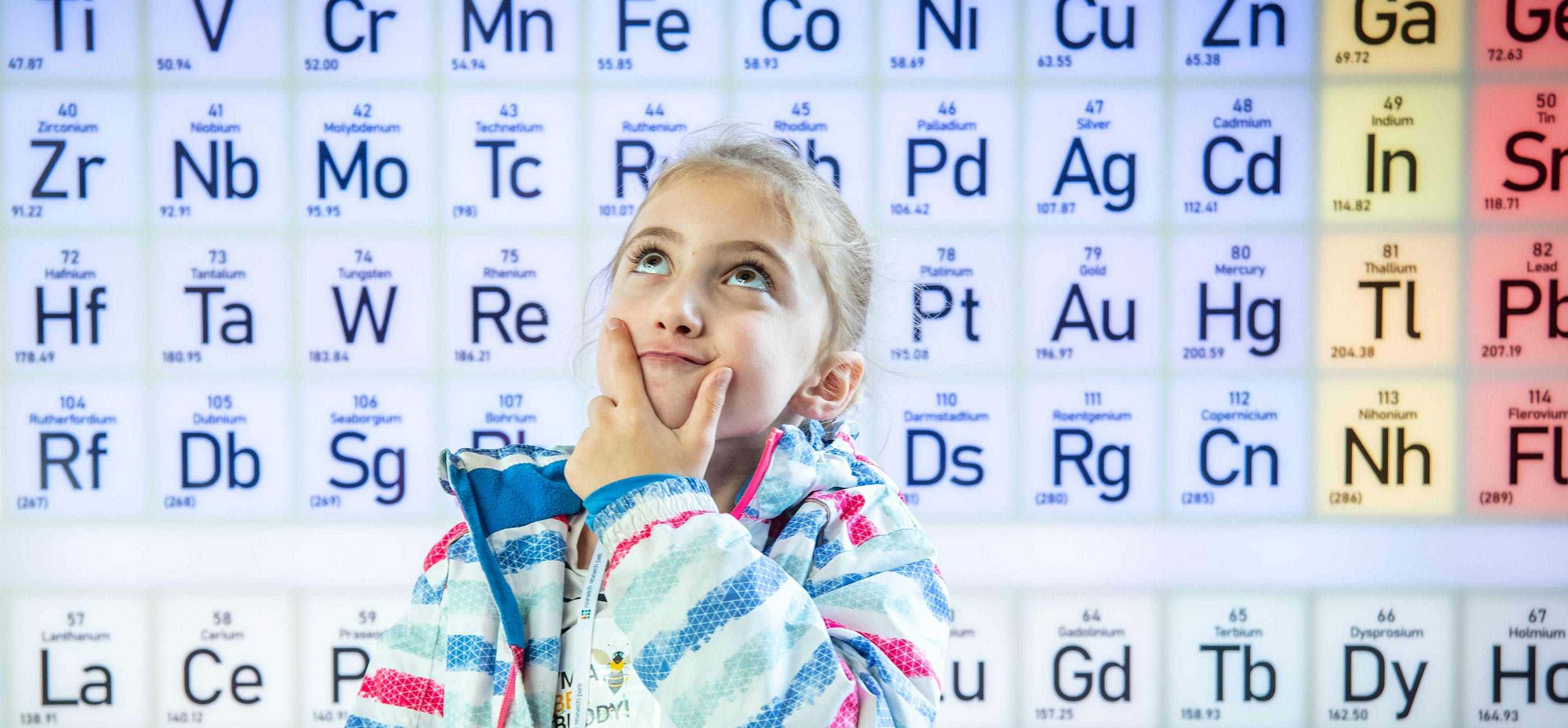 Girl and periodic table - credit Simon Finlay Photography
