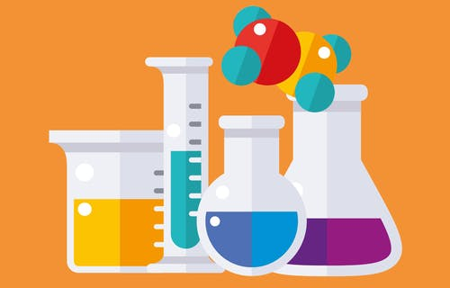 An illustration of scientific beakers filled with different coloured liquids