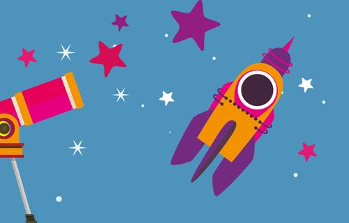 Colourful illustration of a telescope, rocket and stars